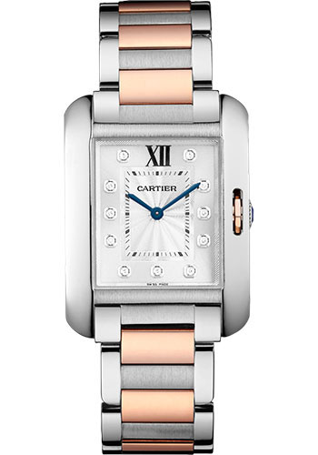 Cartier Watches - Tank Anglaise Stainless Steel and Pink Gold - Style No: WT100032