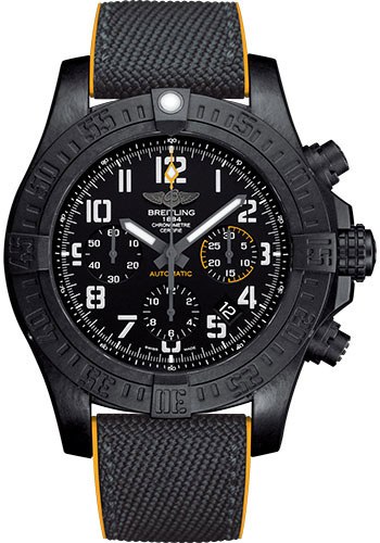Breitling Watches - Avenger Hurricane 45mm - Military Rubber Strap - Style No: XB0180E4/BF31-military-rubber-anthracite-yellow-deployant