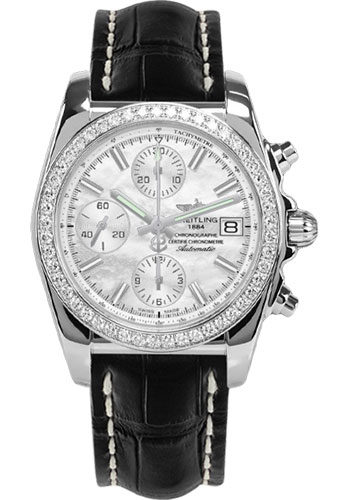 Breitling Watches - Chronomat 38 Diamond Bezel - Croco - Deployant - Style No: A1331053/A774-croco-black-folding