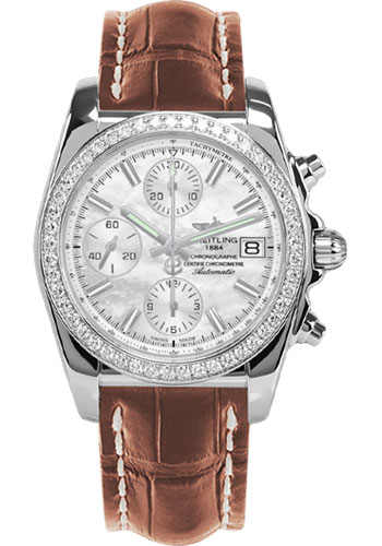 Breitling Watches - Chronomat 38 Diamond Bezel - Croco - Deployant - Style No: A1331053/A774-croco-gold-folding