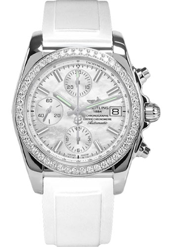 Breitling Watches - Chronomat 38 Diamond Bezel - Diver Pro II Strap - Style No: A1331053/A774-diver-pro-ii-white-pushbutton-folding