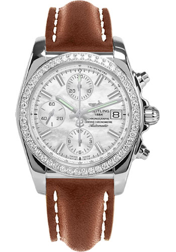 Breitling Watches - Chronomat 38 Diamond Bezel - Leather - Tang - Style No: A1331053/A774-leather-gold-tang