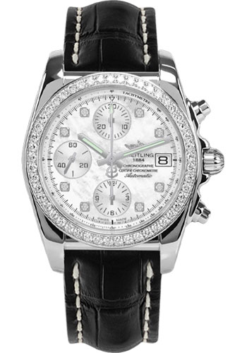 Breitling Watches - Chronomat 38 Diamond Bezel - Croco - Deployant - Style No: A1331053/A776-croco-black-folding