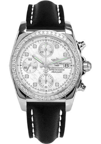 Breitling Watches - Chronomat 38 Diamond Bezel - Leather - Tang - Style No: A1331053/A776-leather-black-tang
