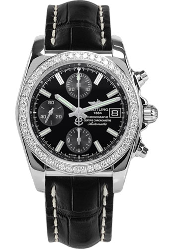 Breitling Watches - Chronomat 38 Diamond Bezel - Croco - Deployant - Style No: A1331053/BD92-croco-black-folding