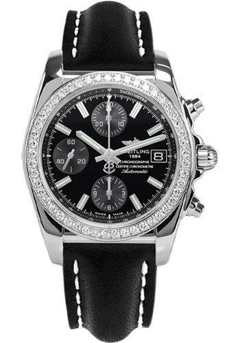 Breitling Watches - Chronomat 38 Diamond Bezel - Leather - Tang - Style No: A1331053/BD92-leather-black-tang