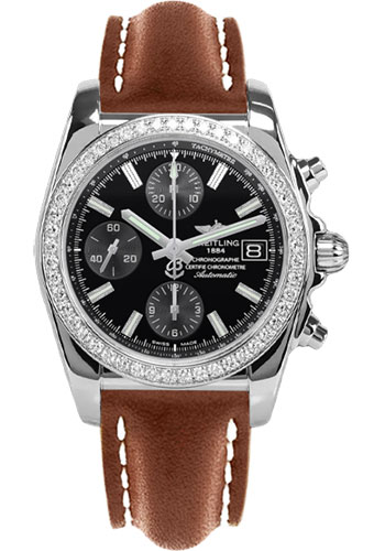 Breitling Watches - Chronomat 38 Diamond Bezel - Leather - Deployant - Style No: A1331053/BD92-leather-gold-folding