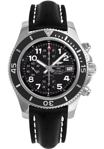 Breitling Watches - Superocean Chronograph 42 Leather Strap - Deployant - Style No: A13311C9/BE93-leather-black-deployant