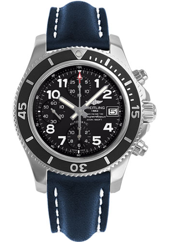 Breitling Watches - Superocean Chronograph 42 Leather Strap - Deployant - Style No: A13311C9/BE93-leather-blue-deployant