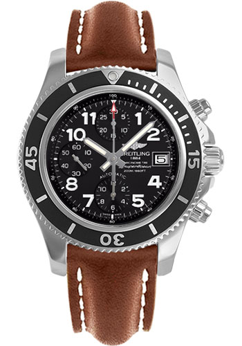 Breitling Watches - Superocean Chronograph 42 Leather Strap - Deployant - Style No: A13311C9/BE93-leather-gold-deployant