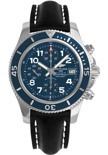Breitling Watches - Superocean Chronograph 42 Leather Strap - Deployant - Style No: A13311D1/C936-leather-black-deployant
