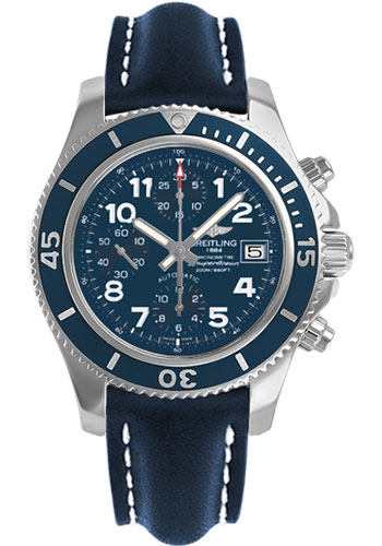 Breitling Watches - Superocean Chronograph 42 Leather Strap - Deployant - Style No: A13311D1/C936-leather-blue-deployant