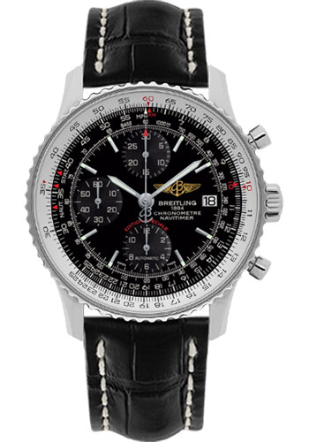 Breitling Watches - Navitimer Heritage Croco Strap - Tang - Style No: A1332412/BF27-croco-black-tang