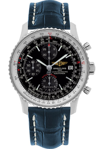 Breitling Watches - Navitimer Heritage Croco Strap - Deployant - Style No: A1332412/BF27-croco-blue-deployant