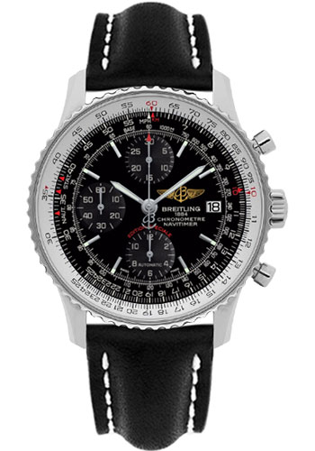 Breitling Watches - Navitimer Heritage Leather Strap - Tang - Style No: A1332412/BF27-leather-black-tang