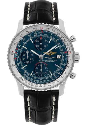 Breitling Watches - Navitimer Heritage Croco Strap - Tang - Style No: A1332412/C942-croco-black-tang