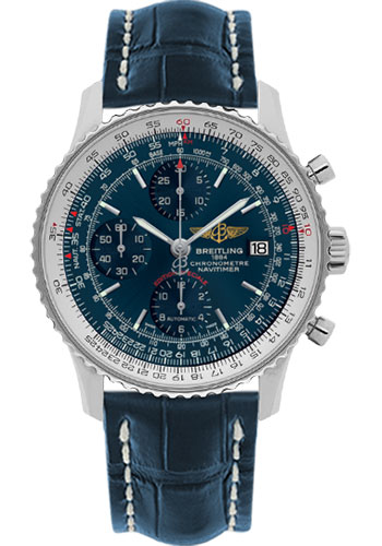 Breitling Watches - Navitimer Heritage Croco Strap - Deployant - Style No: A1332412/C942-croco-blue-deployant