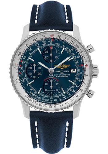 Breitling Watches - Navitimer Heritage Leather Strap - Tang - Style No: A1332412/C942-leather-blue-tang