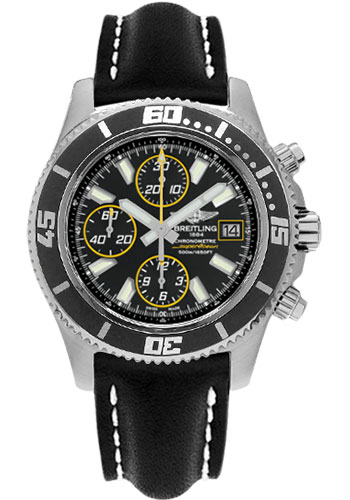 Breitling Watches - Superocean Chronograph II Abyss Yellow Satin - Style No: A1334102/BA82-leather-black-folding