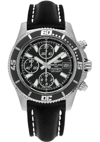 Breitling Watches - Superocean Chronograph II Abyss White Satin - Style No: A1334102/BA84-leather-black-folding