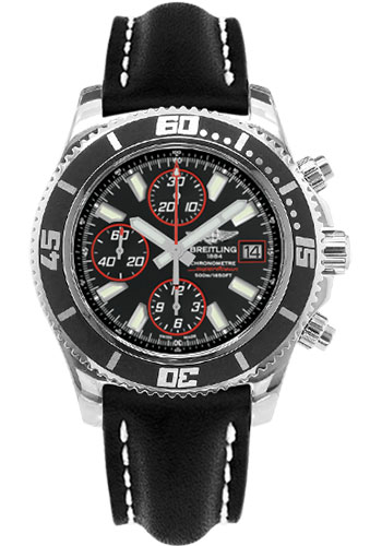 Breitling Watches - Superocean Chronograph II Abyss Red Polished - Style No: A13341A8/BA81-leather-black-folding