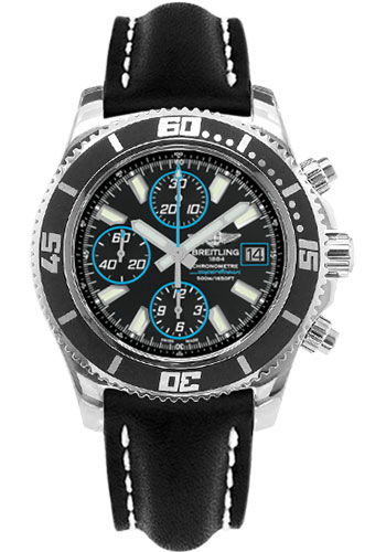 Breitling Watches - Superocean Chronograph II Abyss Blue Polished - Style No: A13341A8/BA83-leather-black-folding