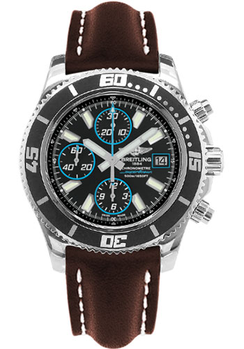 Breitling Watches - Superocean Chronograph II Abyss Blue Polished - Style No: A13341A8/BA83-leather-brown-folding