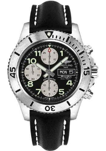 Breitling Watches - Superocean Chronograph Steelfish Leather Strap - Deployant - Style No: A13341C3/BD19-leather-black-deployant