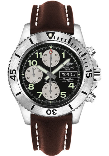 Breitling Watches - Superocean Chronograph Steelfish Leather Strap - Tang - Style No: A13341C3/BD19-leather-brown-tang