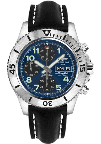 Breitling Watches - Superocean Chronograph Steelfish Leather Strap - Tang - Style No: A13341C3/C893-leather-black-tang