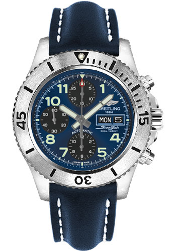 Breitling Watches - Superocean Chronograph Steelfish Leather Strap - Tang - Style No: A13341C3/C893-leather-blue-tang