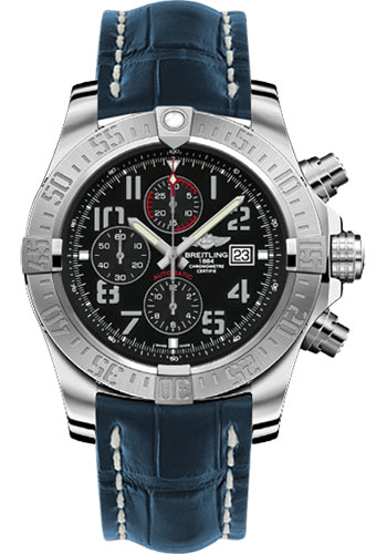 Breitling Watches - Super Avenger II Croco Strap - Deployant Buckle - Style No: A1337111/BC28-croco-blue-deployant