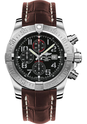 Breitling Watches - Super Avenger II Croco Strap - Tang Buckle - Style No: A1337111/BC28-croco-brown-tang