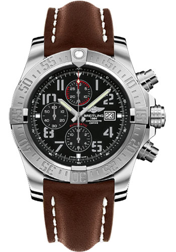 Breitling Watches - Super Avenger II Leather Strap - Deployant Buckle - Style No: A1337111/BC28/444X/A20D.1