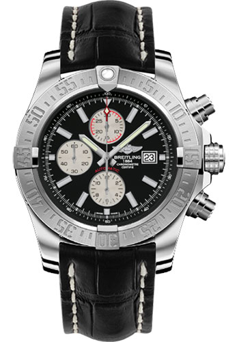 Breitling Watches - Super Avenger II Croco Strap - Deployant Buckle - Style No: A1337111/BC29-croco-black-deployant