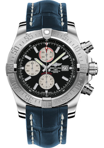 Breitling Watches - Super Avenger II Croco Strap - Tang Buckle - Style No: A1337111/BC29-croco-blue-tang