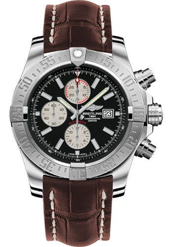 Breitling Watches - Super Avenger II Croco Strap - Tang Buckle - Style No: A1337111/BC29-croco-brown-tang