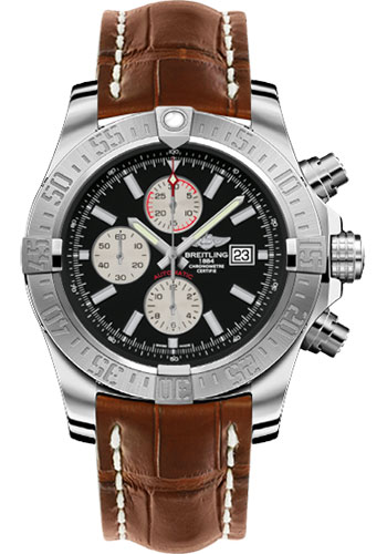 Breitling Watches - Super Avenger II Croco Strap - Tang Buckle - Style No: A1337111/BC29-croco-gold-tang