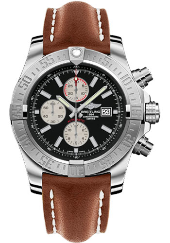 Breitling Watches - Super Avenger II Leather Strap - Deployant Buckle - Style No: A1337111/BC29-leather-gold-deployant