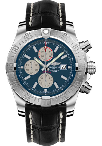 Breitling Watches - Super Avenger II Croco Strap - Deployant Buckle - Style No: A1337111/C871-croco-black-deployant