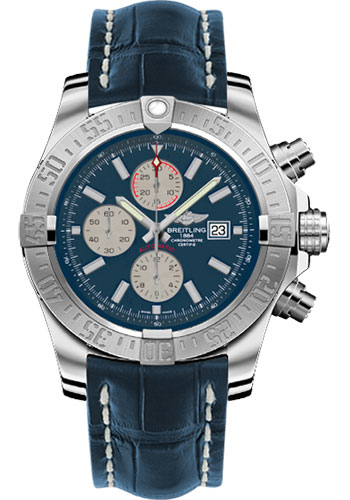 Breitling Watches - Super Avenger II Croco Strap - Tang Buckle - Style No: A1337111/C871-croco-blue-tang