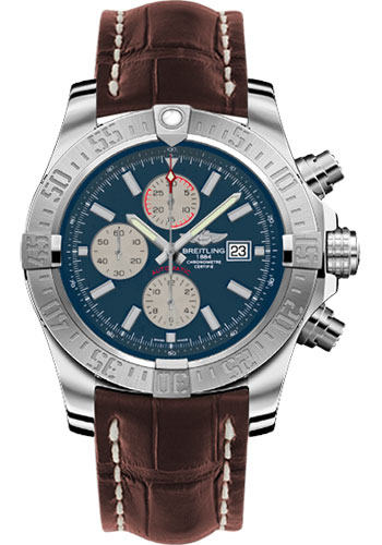 Breitling Watches - Super Avenger II Croco Strap - Tang Buckle - Style No: A1337111/C871-croco-brown-tang