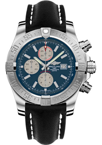 Breitling Watches - Super Avenger II Leather Strap - Tang Buckle - Style No: A1337111/C871-leather-black-tang