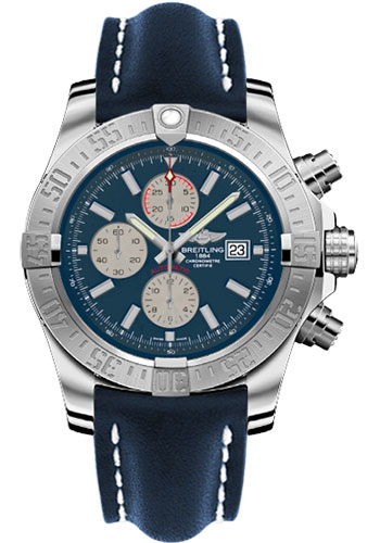 Breitling Watches - Super Avenger II Leather Strap - Tang Buckle - Style No: A1337111/C871-leather-blue-tang