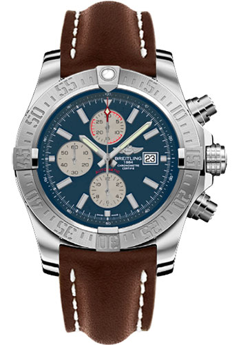 Breitling Watches - Super Avenger II Leather Strap - Deployant Buckle - Style No: A1337111/C871-leather-brown-deployant