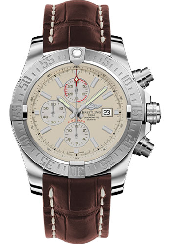 Breitling Watches - Super Avenger II Croco Strap - Tang Buckle - Style No: A1337111/G779-croco-brown-tang