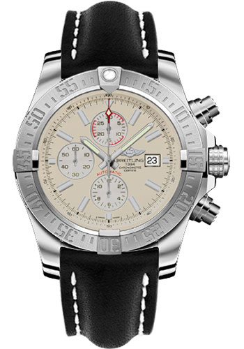 Breitling Watches - Super Avenger II Leather Strap - Deployant Buckle - Style No: A1337111/G779-leather-black-deployant