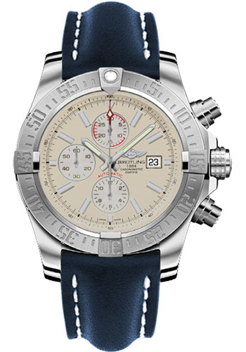 Breitling Watches - Super Avenger II Leather Strap - Deployant Buckle - Style No: A1337111/G779-leather-blue-deployant