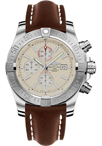 Breitling Watches - Super Avenger II Leather Strap - Deployant Buckle - Style No: A1337111/G779-leather-brown-deployant