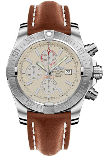 Breitling Watches - Super Avenger II Leather Strap - Deployant Buckle - Style No: A1337111/G779-leather-gold-deployant
